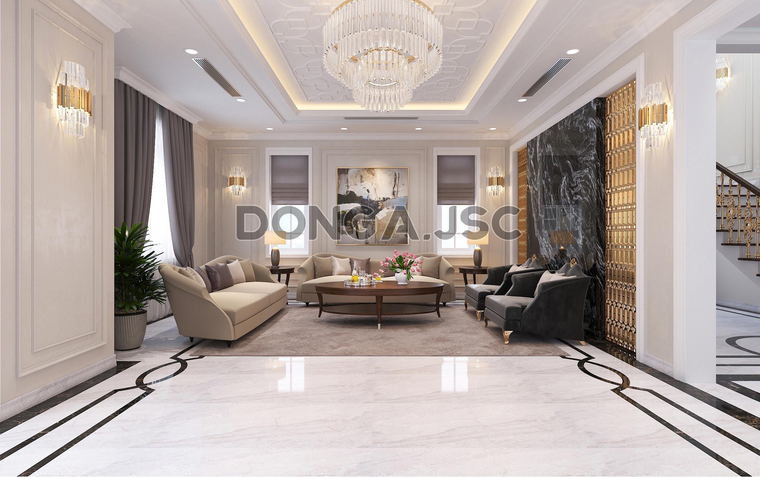 Nội thất phòng khách đẹp phong cách tân cổ điển nhẹ nhàng, sang trọng.